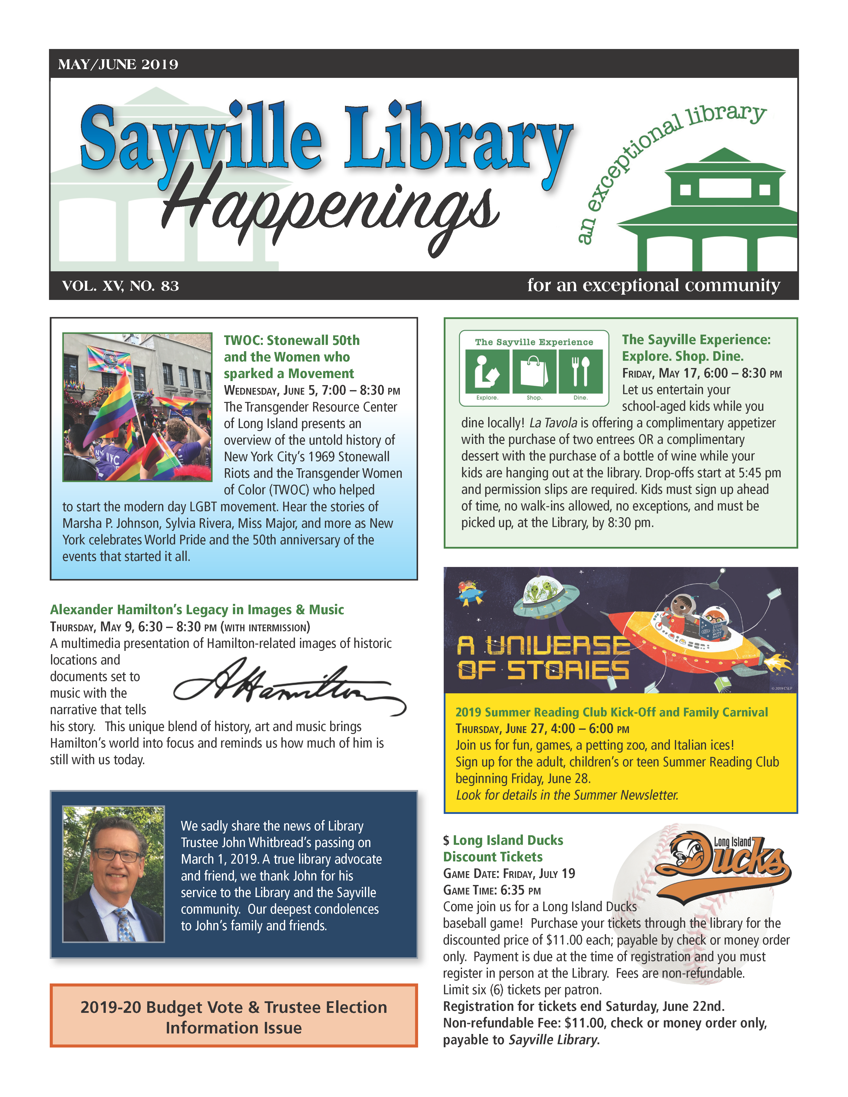 May/June 2019 newsletter front page thumbnail