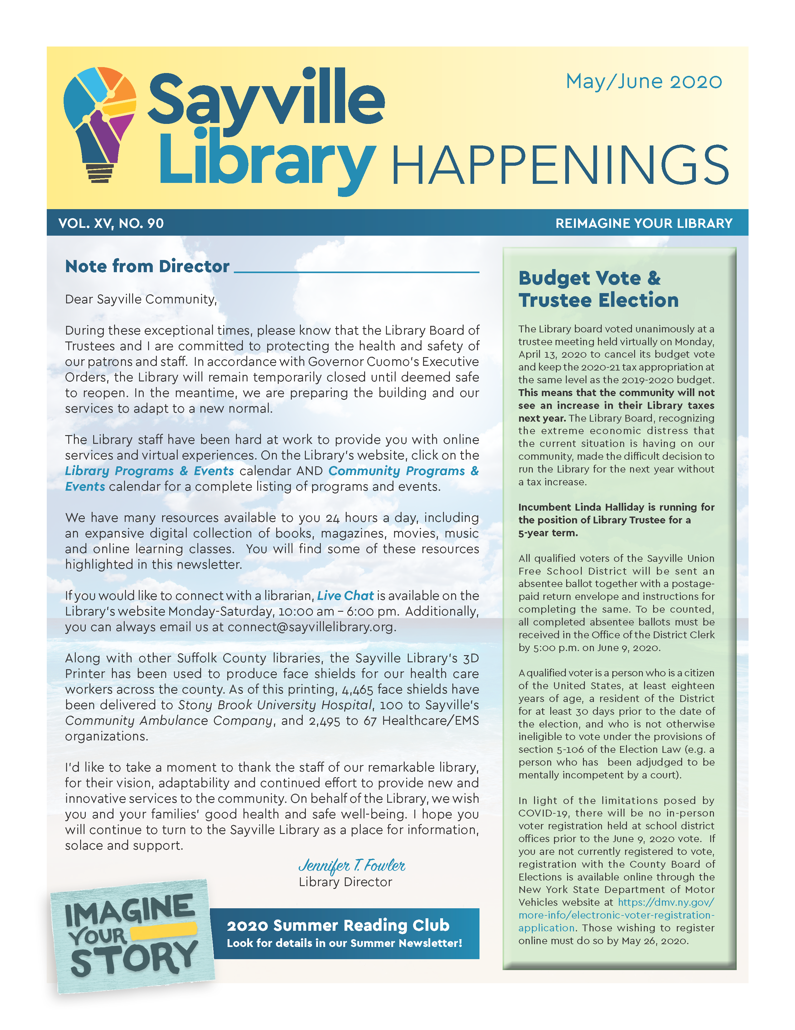 Front page thumbnail of Sayville Library Happenings May/June 2020